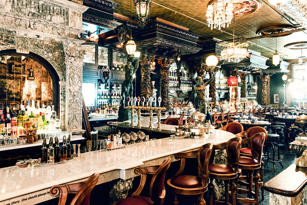 Considered the longest bar in NYC, the marble counter is estimated to have cost over $400,000 to build.