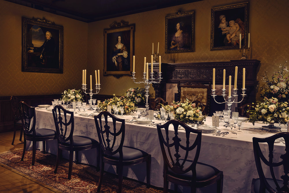 The dining hall at Downton Abbey. - This image is courtesy of NBC Universal International Studios.