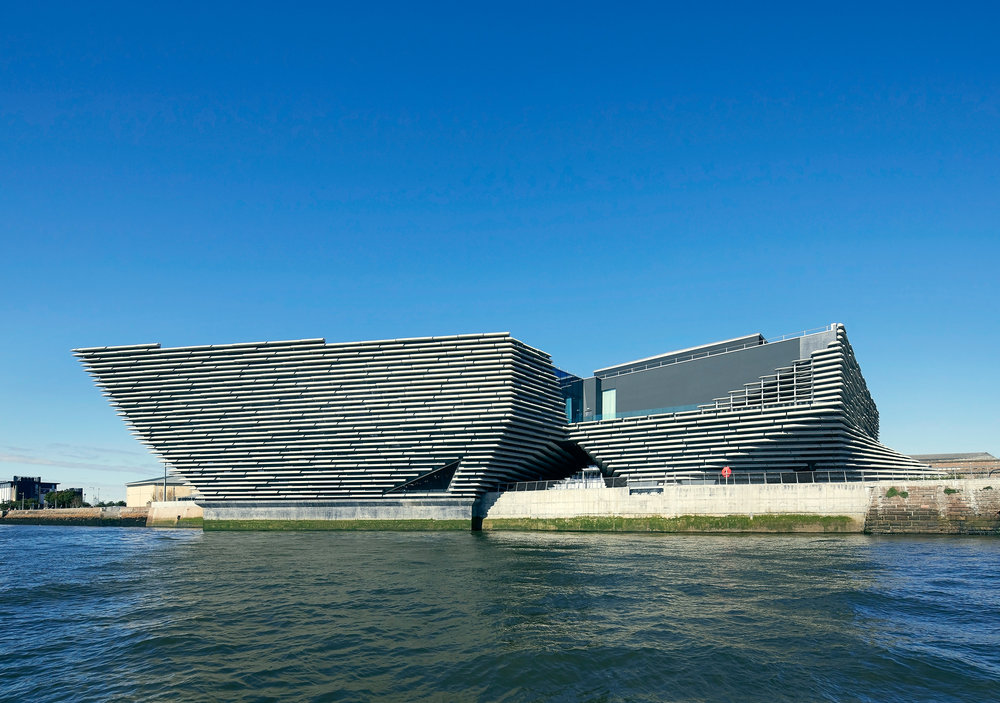 The architecture of the V&A Dundee Museum of Design is inspired by the cliffs along the north-east coast of Scotland . © Hufton Crow.