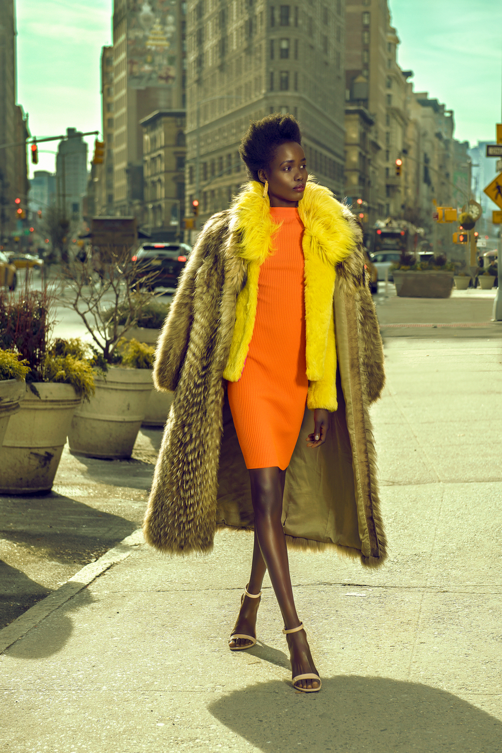 FAUX FUR COAT: VINTAGE FIND / FAUX FUR AGATA JACKET: GUESS / BLOUSE: NEIMAN MARCUS / DRESS: MICHAEL KORS / SHOES: CALVIN KLEIN / JEWELRY: MAURICIO CINFUENTES  GUILD MAGAZINE. COPYRIGHT 2018.