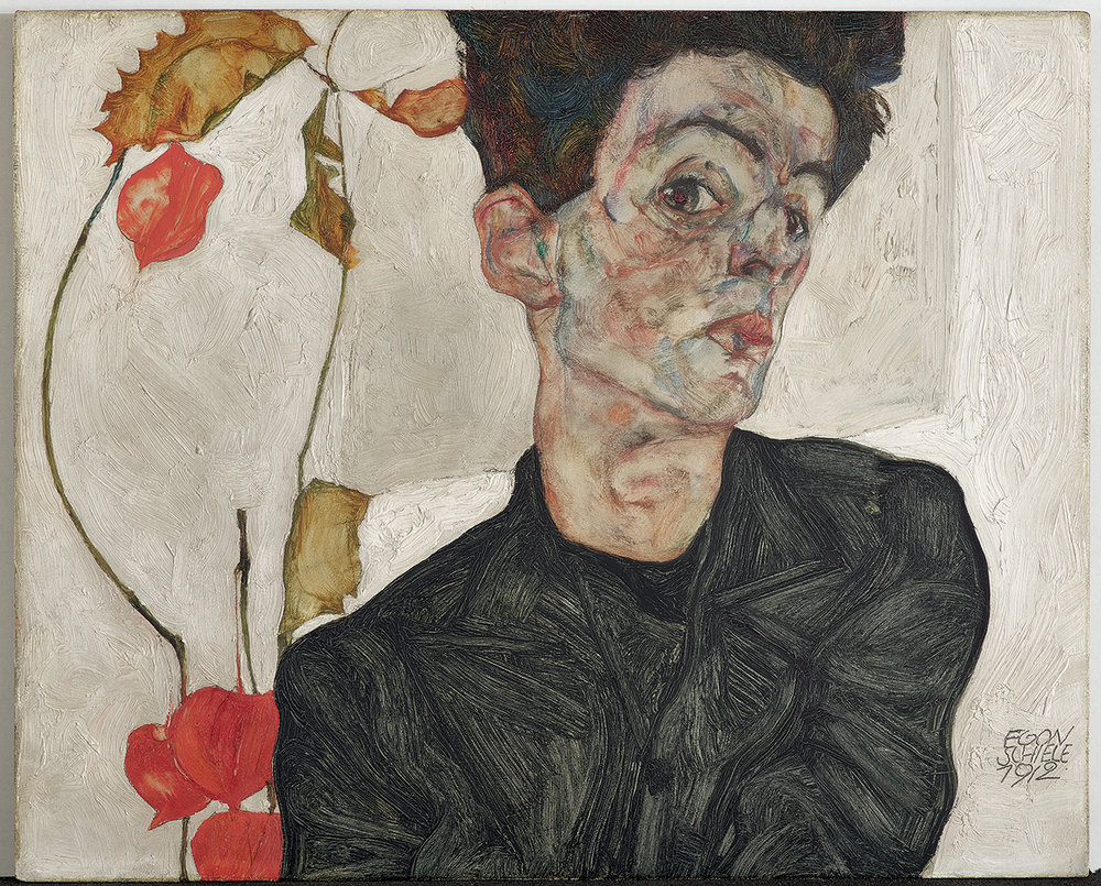 EGON SCHIELE - SELF-PORTRAIT WITH CHINESE LANTERN