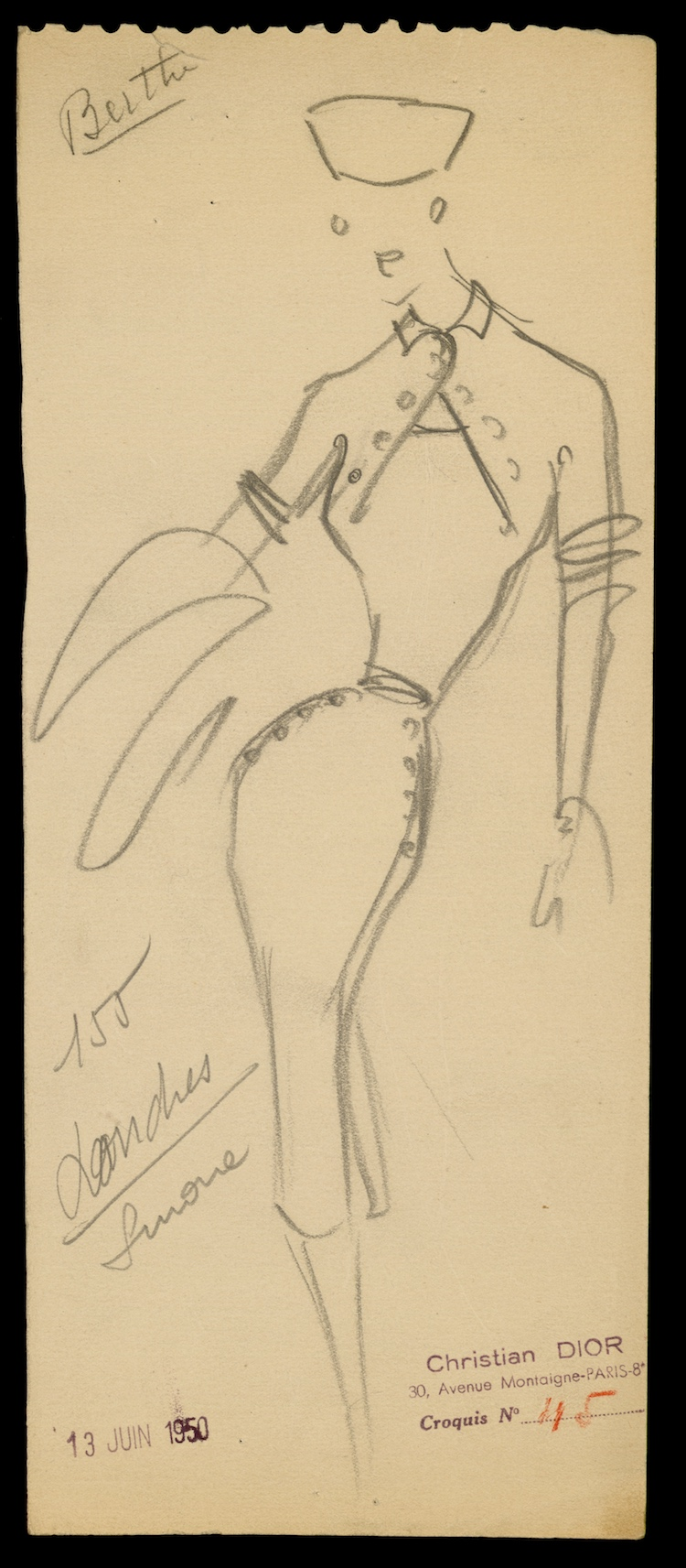 Sketch by Christian Dior for model Londres, Autumn-Winter 1950 Haute Couture collection © Christian Dior.