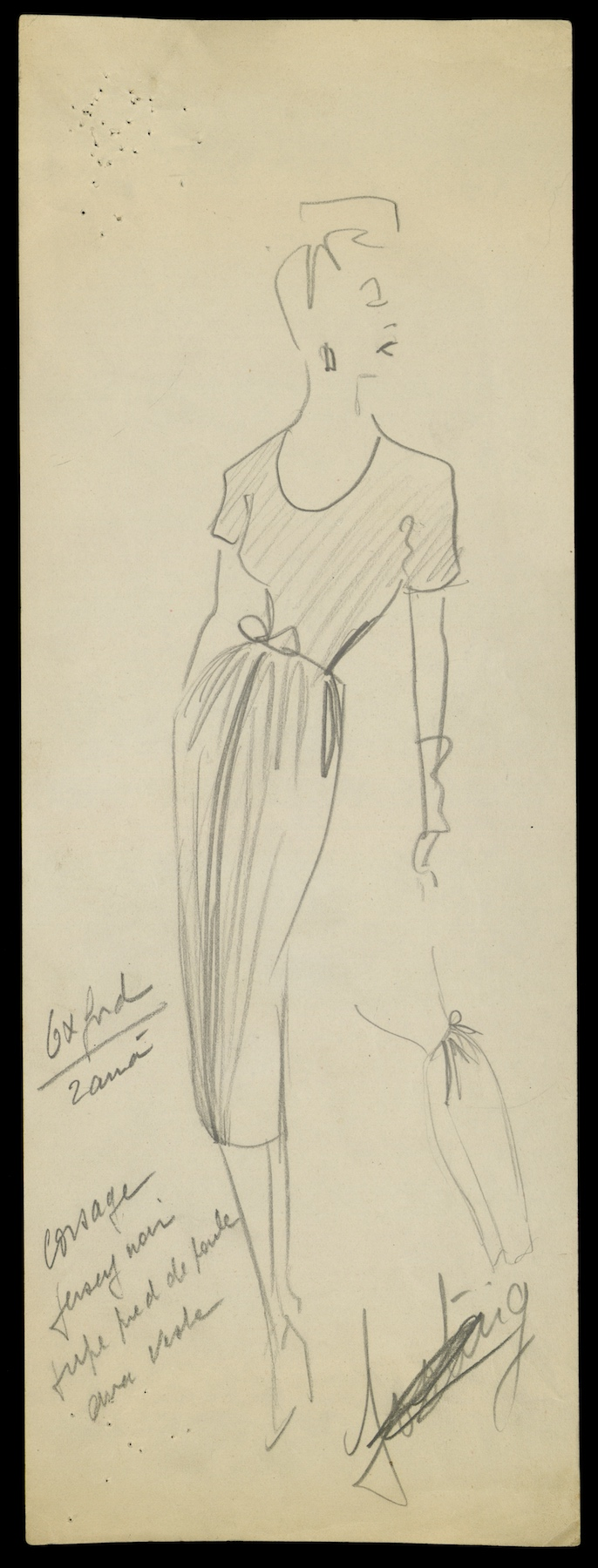 Sketch by Christian Dior for model Oxford, Spring-Summer 1947 Haute Couture collection © Christian Dior.