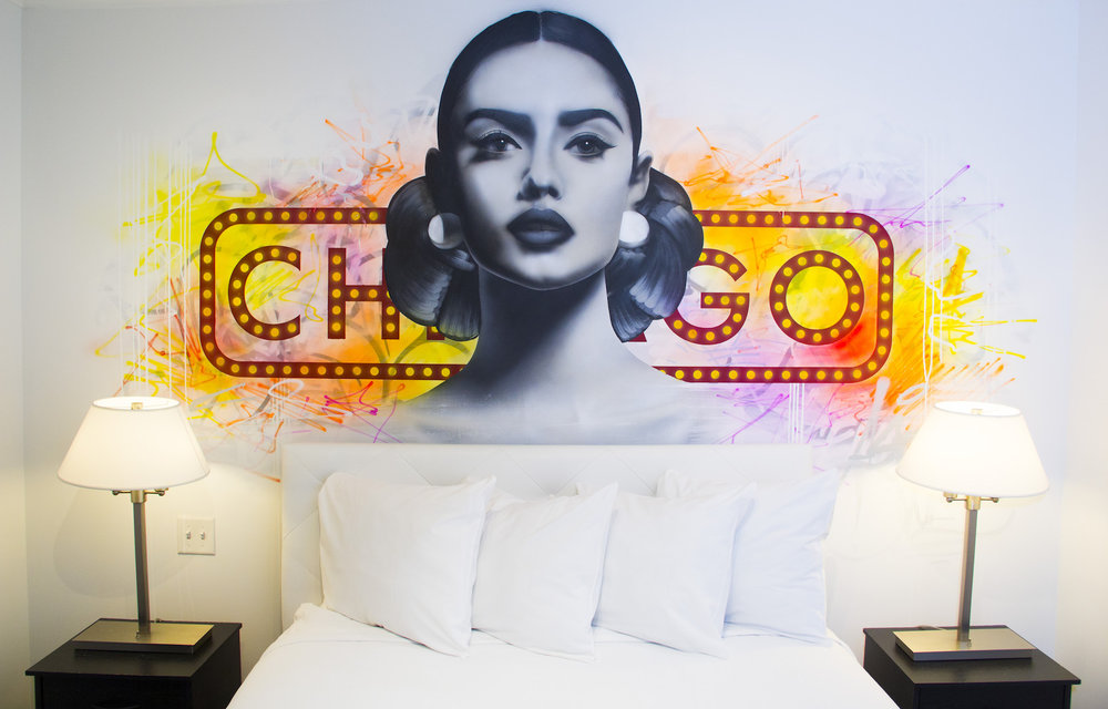 Mural by artist Asend in the hotel Chicago West Loop. Photography courtesy of Hotel Chicago West Loop.