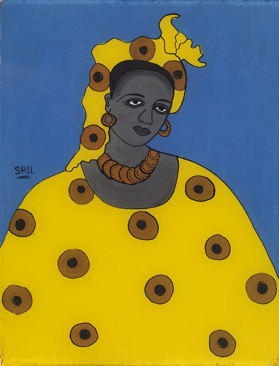 Ibrahima Sall, b. 1939, Senegal.  Portrait of a Woman.  After 1967. Paint on glass. National Museum of African Art, Smithsonian Institution, gift of the Wil and Irene Petty Collection, 2008-5-6. Image by Franko Khoury, National Museum of African Art, Smithsonian Institution.