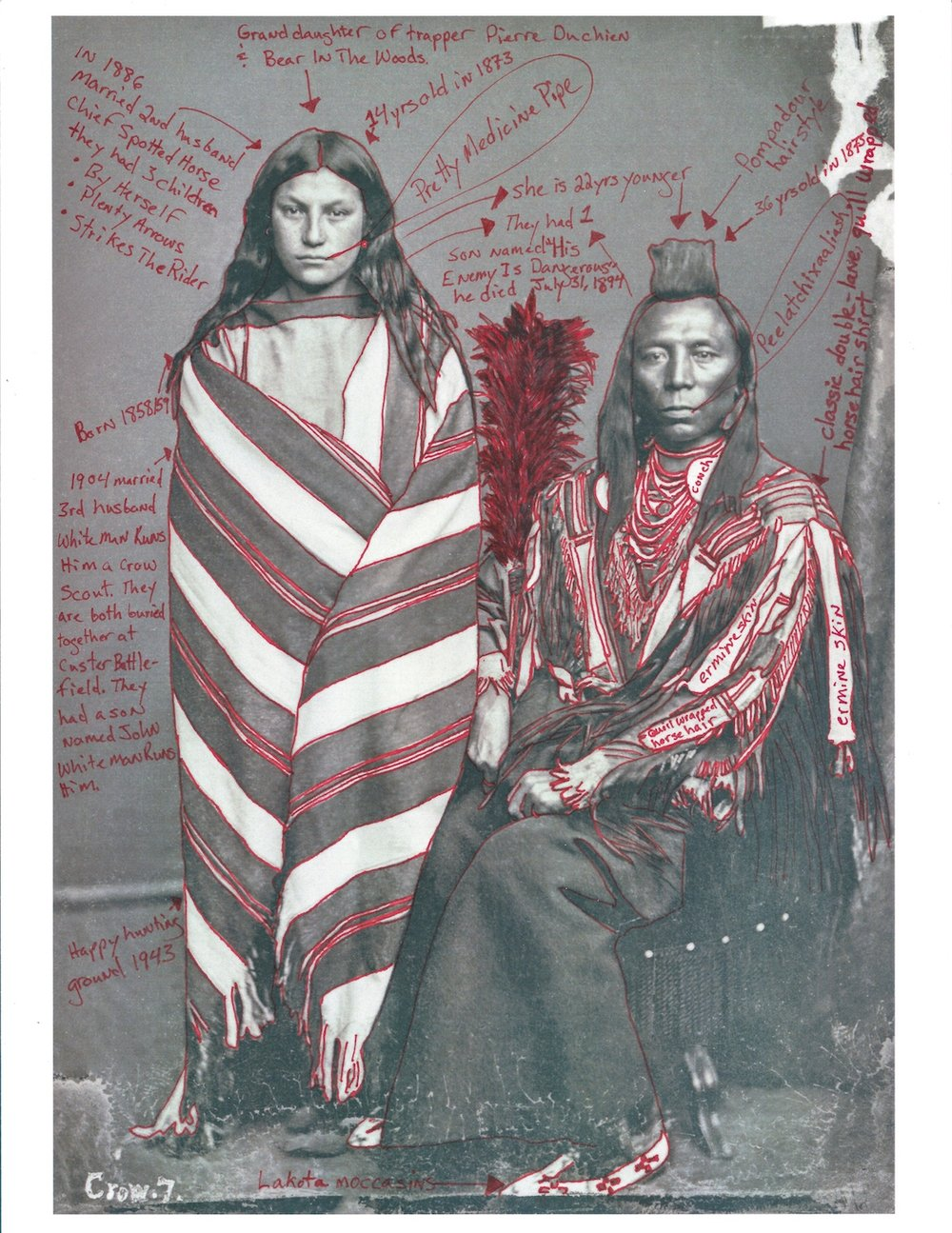 Wendy Red Star,  Portrait of Perits-Har-Sts (Old Crow) and with His Wife, Ish-Ip-Chi-Wak-Pa-I-Chis (Good or Pretty Medicine Pipe)­­­­–1873 Peace Delegation Series , 2017. Pigment Print on Archival Photo-Paper, 17 x 25 in. (43.2 x 63.5 cm). Collection of the artist. © Wendy Red Star.