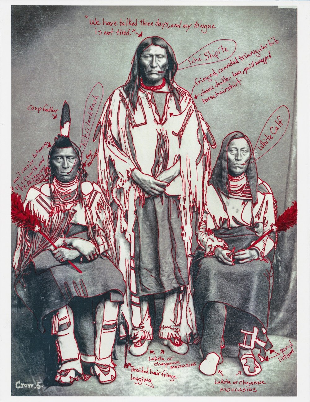 Wendy Red Star,  Group Portrait of Three Men, Mo-Mukh-Pi-Tche, Ella-Causs-Se (Thin Belly), and Pish-Ki-Ha-Di-Ri-Ky-Ish (One Who Leads The Old Dog)–1873 Peace Delegation Series , 2017. Pigment Print on Archival Photo-Paper, 17 x 25 in. (43.2 x 63.5 cm). Collection of the artist. © Wendy Red Star.