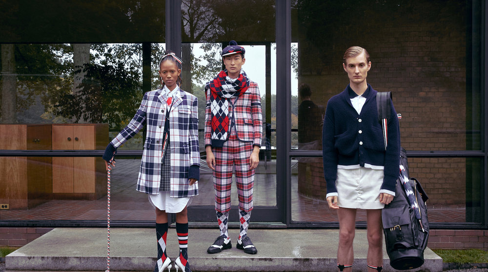 The new collection draws inspiration from a classic American golf uniform. © Thom Browne.