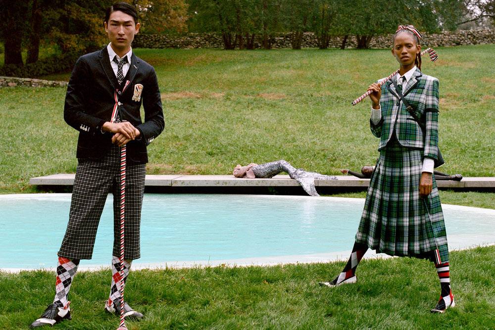 Timeless argyle and tartan set the tone for tailoring and knitwear. © Thom Browne.