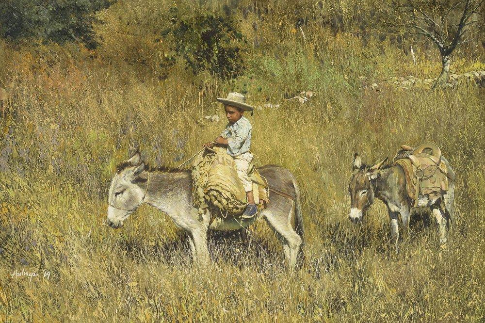 """Pepito on Donkey Leading Donkey, 1969, oil on canvas, 19 3/8 x 29 ½"""""""