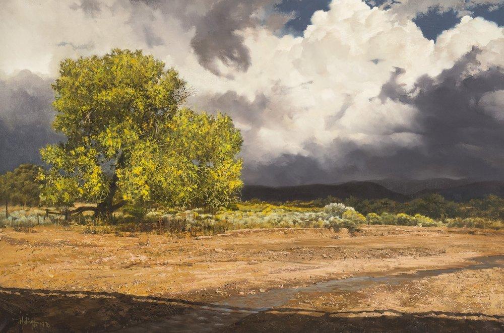 Tesuque Cottonwood, 1976, oil on canvas, 23 ⅜ x 35 ⅜