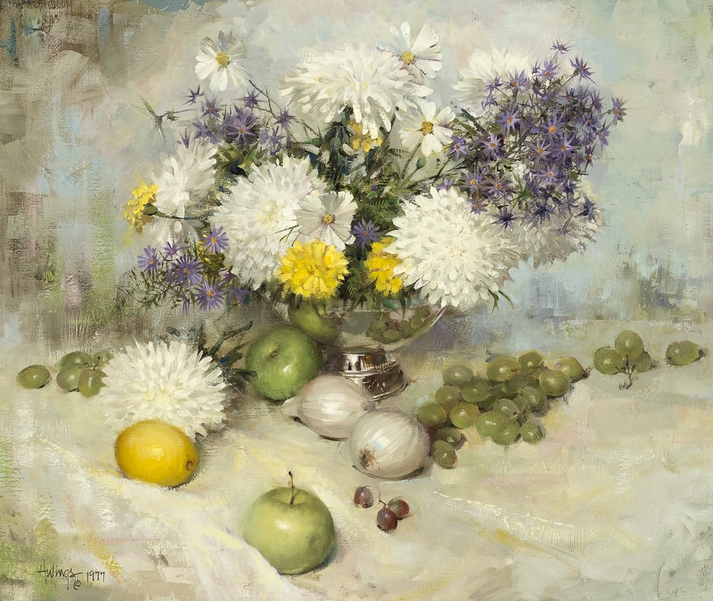 Chrysanthemums, 1977, oil on canvas, 20 x 24