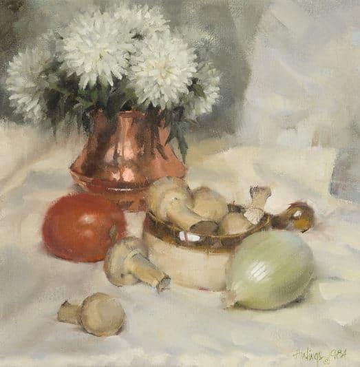 Still Life with Mushrooms, 1984, oil on canvas, 11 ½ x 11 ½