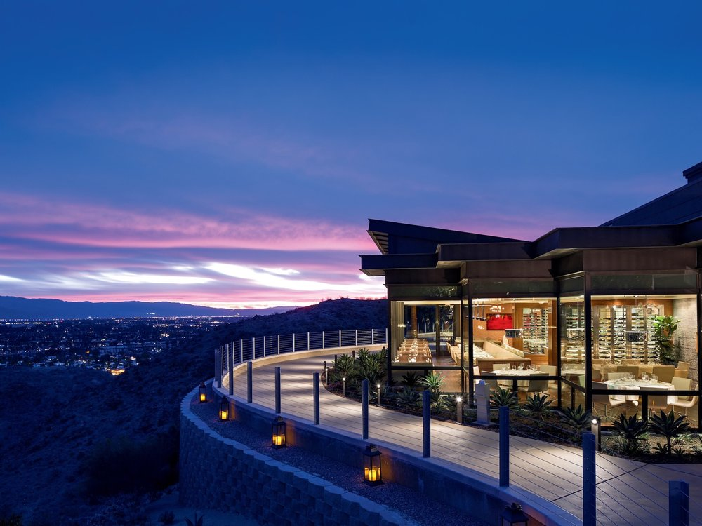 Views from the restaurant The Edge Steakhouse at The Ritz-Carlton, Rancho Mirage in California.
