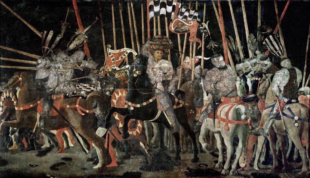 Paolo di Dono, dit Uccello, La Bataille de San Romano la contre-attaque de Micheletto da Cotignola. , Vers 1435 - 1440, Paris, musée du Louvre, département des Peintures, M.I. 469