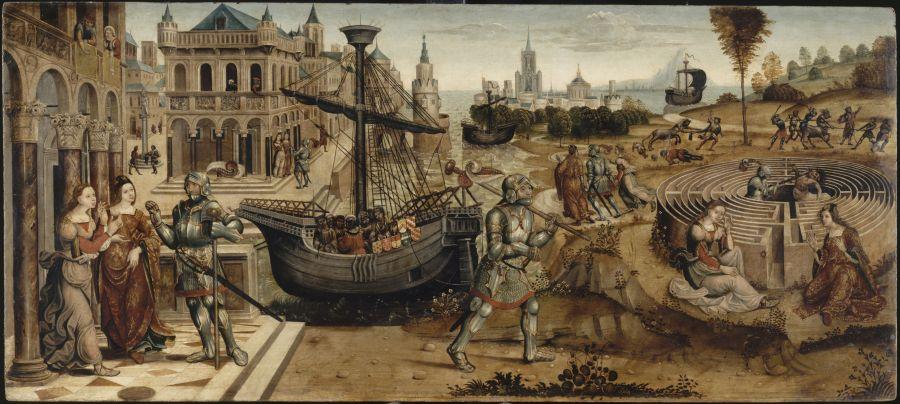 Maître des Cassoni Campana, début du XVIe siècle. Ainsi nommé d'après quatre panneaux décoratifs de la collection Campana,Thésée et le Minotaure © L'œil et la mémoire Fabrice Lepeltier