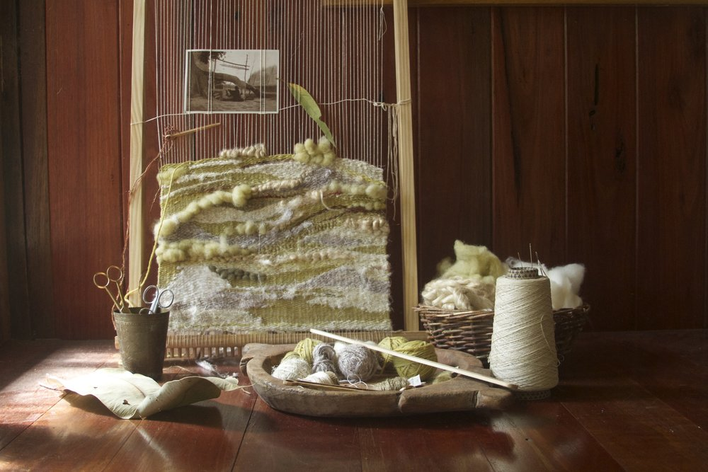 2014, woven wall hanging, naturally dyed wool and fibres.jpg