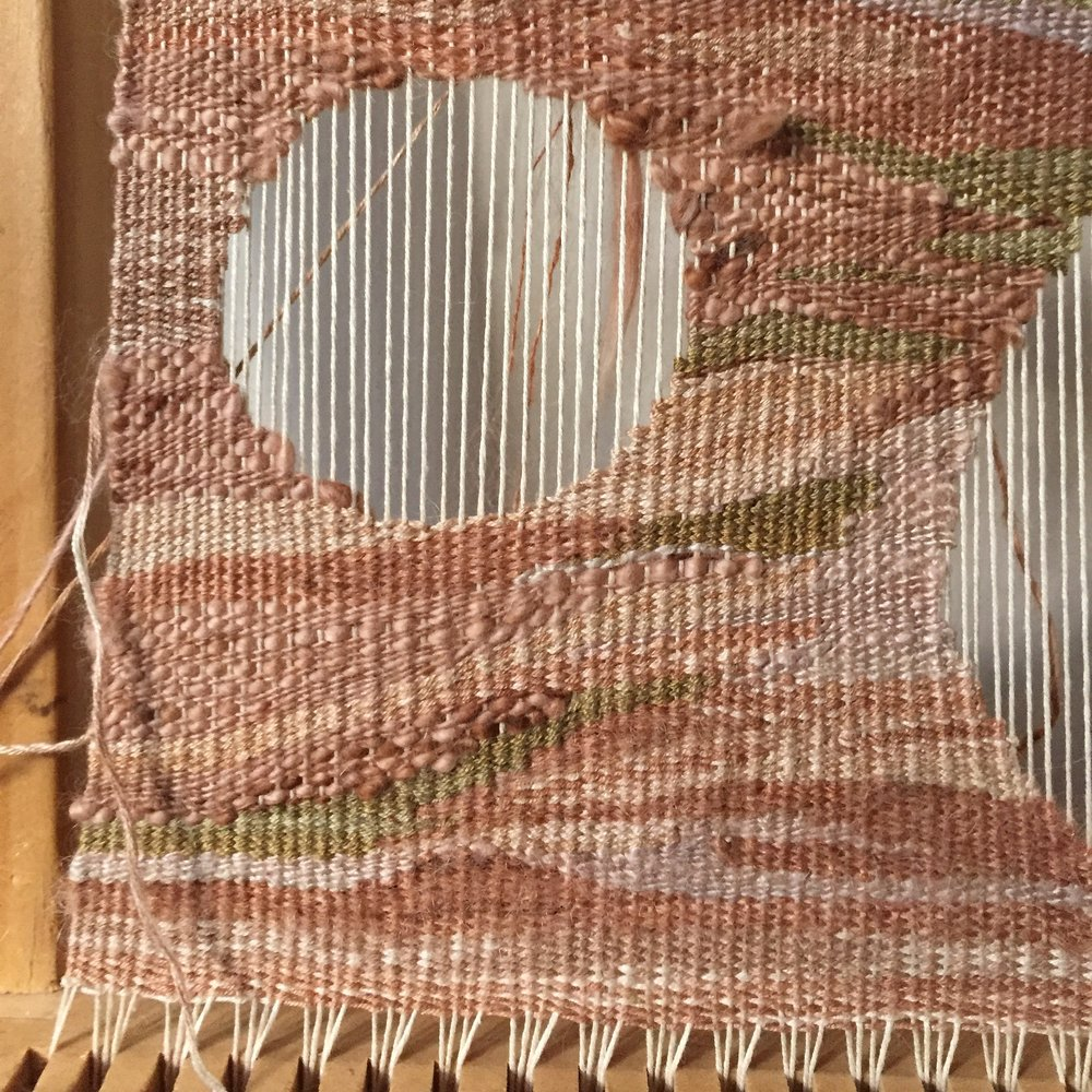 2017, woven wall hanging pinks, naturally dyed silk thread.jpg