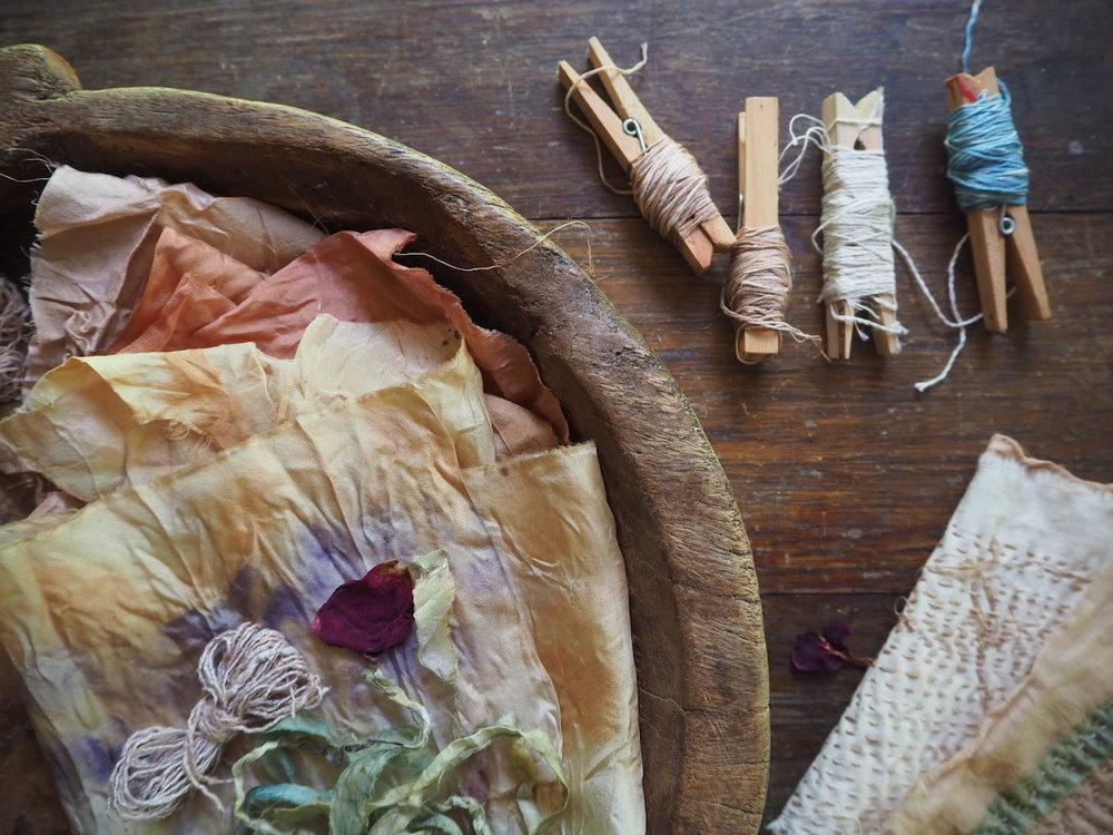 Ellie Beck petalplum threads and naturally dyed fabrics.JPG