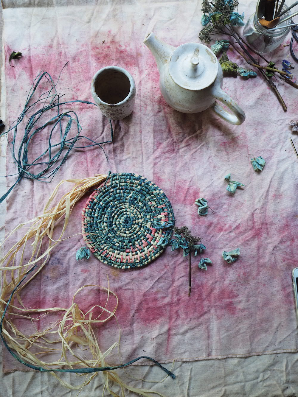 Ellie Beck Petalplum Basket weaving and pink table cloth.JPG
