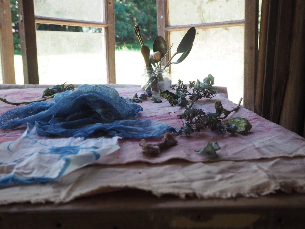 Ellie Beck Petalplum fabric in my studio.JPG