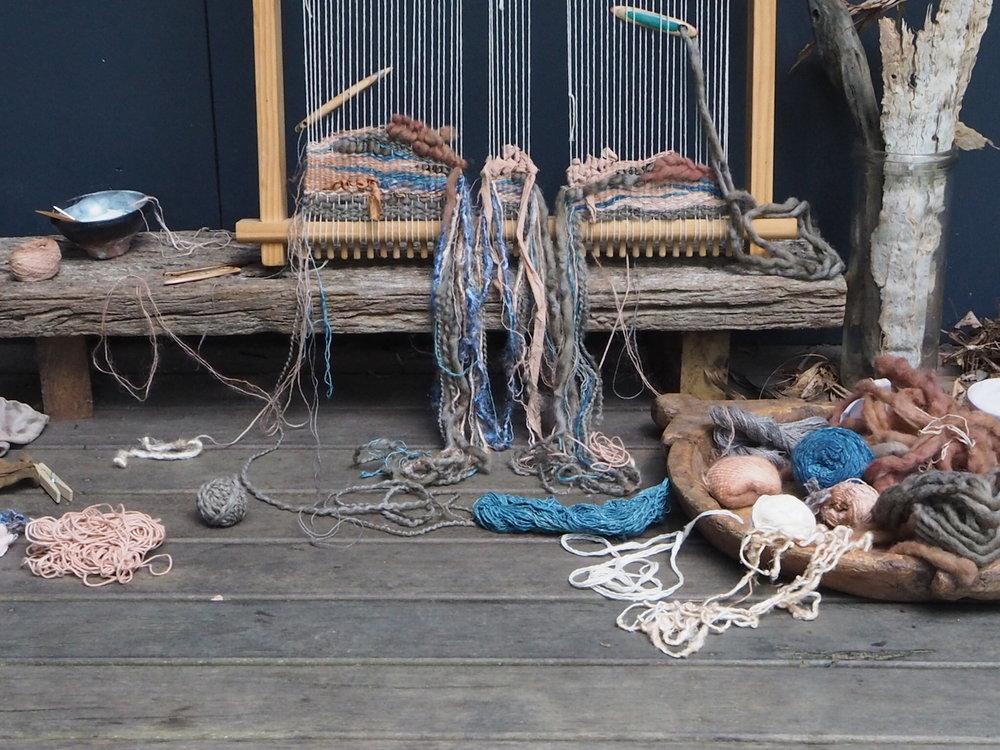 Ellie Beck Petalplum Loom weaving %22Jupiter%22 naturally dyed threads.JPG