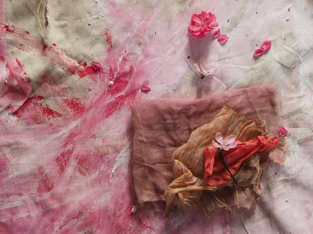 Ellie Beck Petalplum Mark making pink paint on canvas.JPG