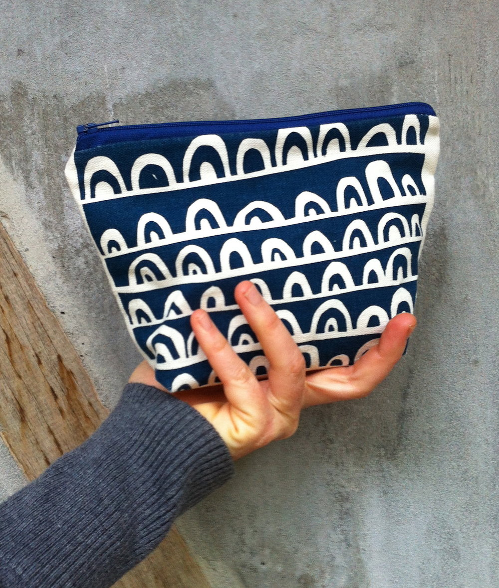Ellie Beck Hand screen printed zipper purse pouch.jpg
