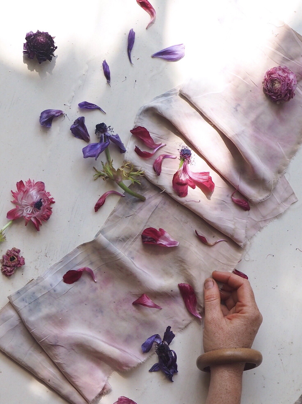 Botanically dyed vintage kimono sillk - dyed with rannunculus flowers. Ellie Beck Petalplum.jpeg