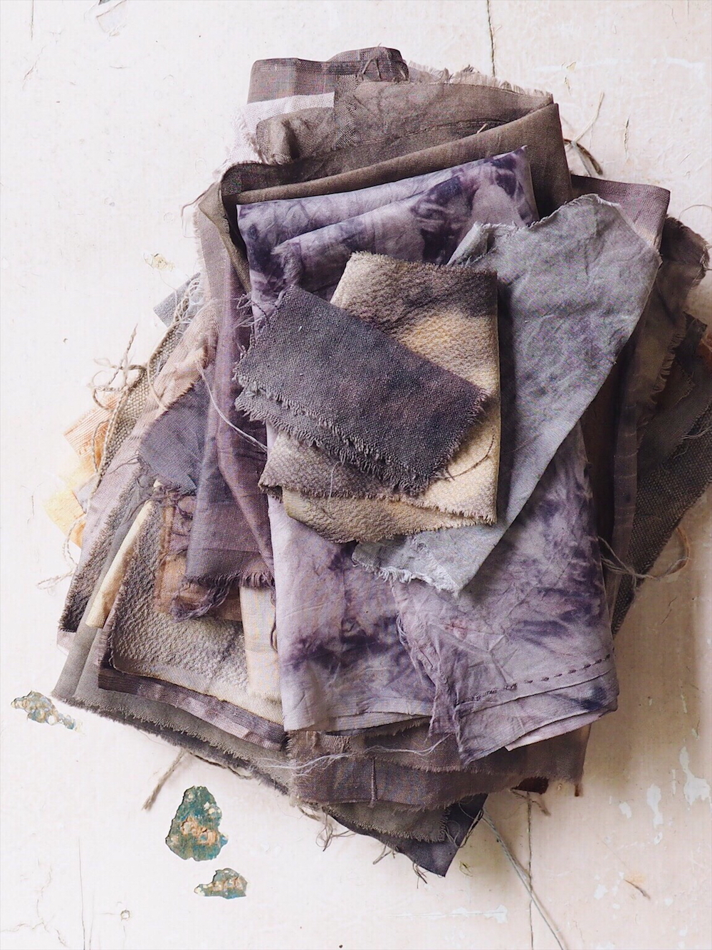 Naturally and Botanically Dyed Fabric - purple and grey - Ellie Beck Petalplum.jpeg