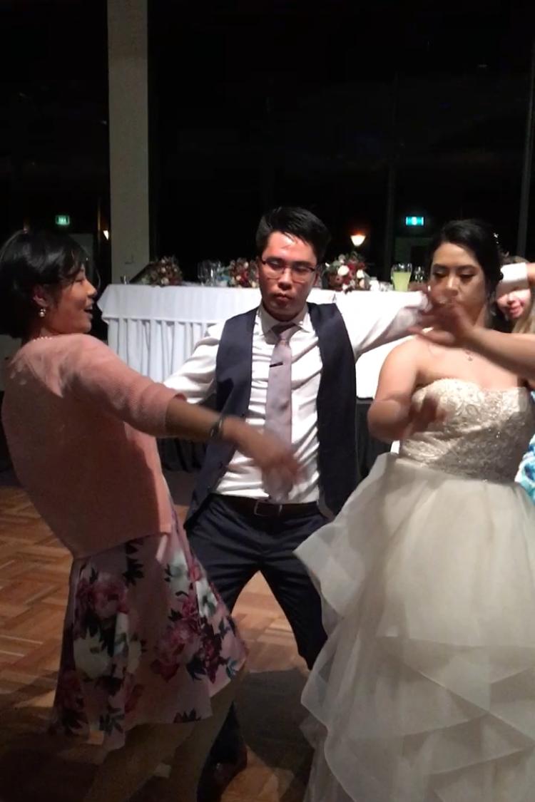 Nikki Zhao celebrating with her newlyweds