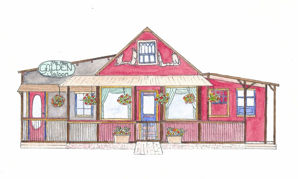 McCarthy Places - I created a series of my favorite (there are not many from which to choose) buildings in McCarthy, Alaska for Kennecott Trading Company last winter. I drew each building in pen on watercolor paper not because I intended to learn to watercolor but because that is the paper that was in my purse when I decided to begin the project. Each building was then Photoshop'ed together onto one document that I transformed into a postcard that was sold in the gift shop. It was something I was proud of and that tourists and locals seemed to like. It occurred to me this fall that, though the black-and-white is appealing in its simplicity, the bright hues of McCarthy buildings are what make them so winsome. A dear friend gave me a set of travel watercolors and I proceeded to learn to use them on each of the pen and ink drawings. I am pleased with the result and I gifted the originals to a friend as a