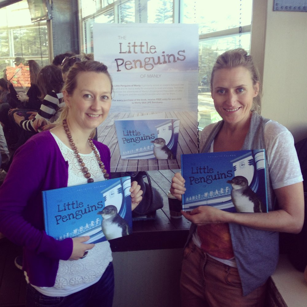 At the book launch, Cath (Catfish) & Rachel (Fish 2) show off the new prints in Manly SeaLife Sanctuary Penguin House. The Penguins made so much noise you couldn't hear the speeches!