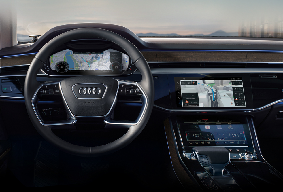 HERE IAA  Created a multi-dimensional user experience that helped the user visualise the safety features being leveraged by Audi  AD:  Bert Sagi  Motion Design:  Lumalenscape
