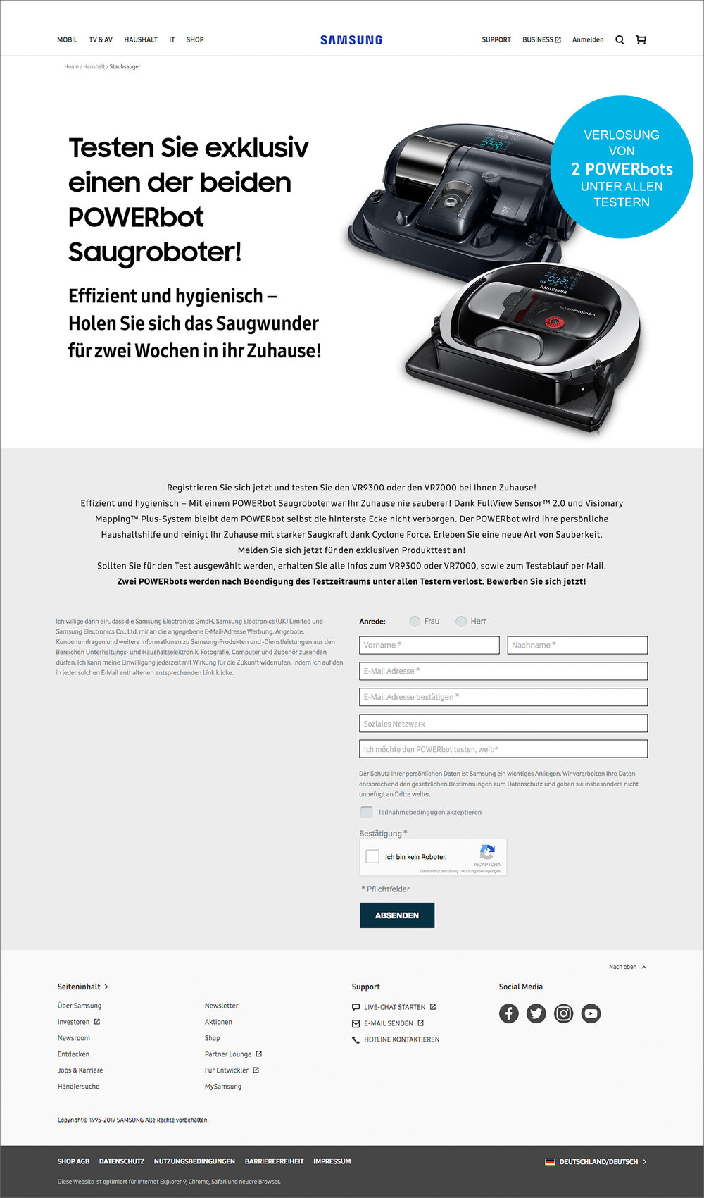 Samsung  product registration page
