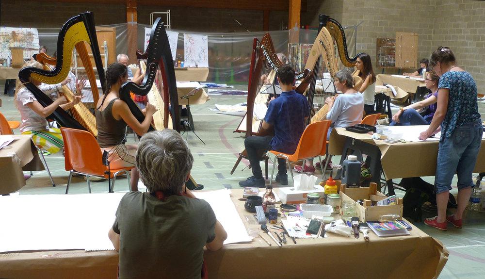 visite des musiciens à l'atelier