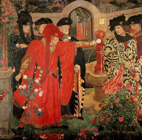 Plucking the Red & White Roses in the Old Temple Gardens, Henry Payne, 1910