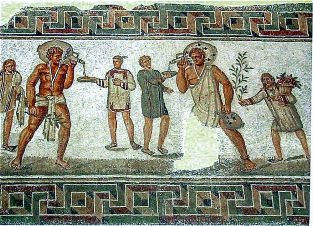 Ancient mural depicting indigo dye trade.
