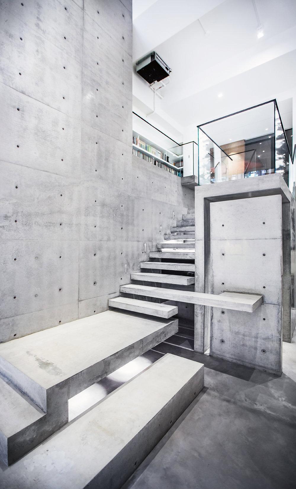 清水模,樓梯,商業空間,毛森江