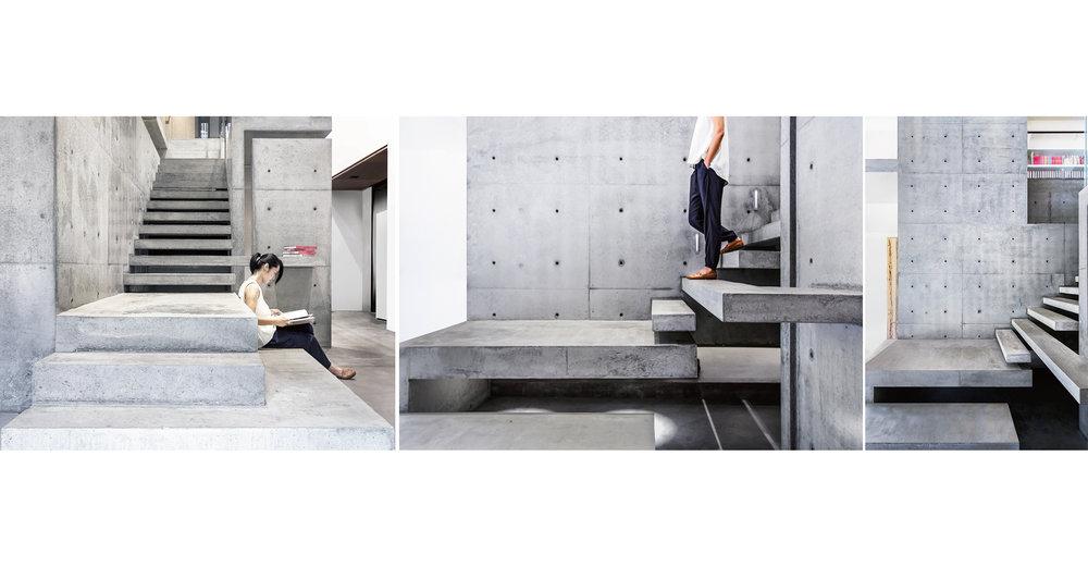 清水模,桌面,椅子,樓梯