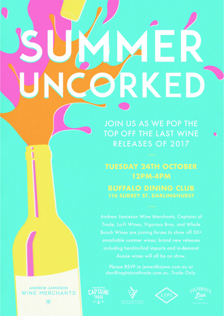 Join us on the Tuesday 24th October at Buffalo Dining Club for 'Summer Uncorked'; a summer focused trade tasting
