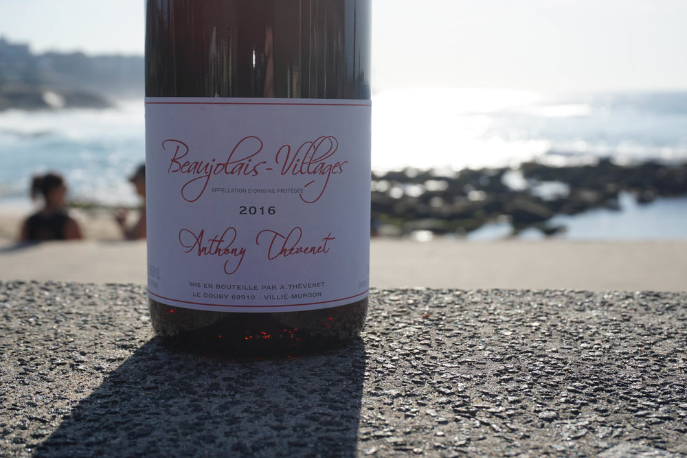 2016 Anthony Thévenet Beaujolais Villages Vine age; 50 - 78 years old 30 hl/ha  Hand picked as bunches at an elevation of 230m on sandy soils with a top layer of gravel. To retain freshness and purity, a short carbonic maceration in concrete vats for 8 days, later followed by full natural malolactic fermentation in concrete also.   The majority remained in concrete for maturation on lees whilst a third was sent to old 600L demi-muids for 3 months.  The resulting wine was then blended and sent to bottle without fining, filtration and finished with less that 10mg/l of SO2 added.