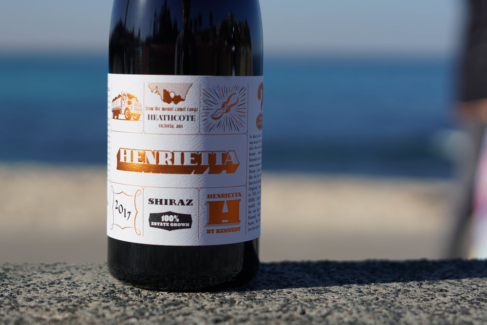 2017 Henrietta Shiraz   100% Shiraz 2.6T/acre   Handpicked as bunches at 240m elevation on Cambrian soils (Iron rich with jasper, chert, seafloor basalt/greenstone). Shiraz is destemmed to whole berry. The fruit is cold soaked initially for a total of 5 days before commencing wild fermentation in open top stainless steel vessels on skins for a total of 18 days.  With gentle pumpovers for the first 2-5 days at the height of ferment and followed by hand plunging, the resulting juice is later racked to old French oak where it completes wild malolactic fermentation and is left to mature for 8 months.  Unfined and with 52.8mg/l SO2 added.