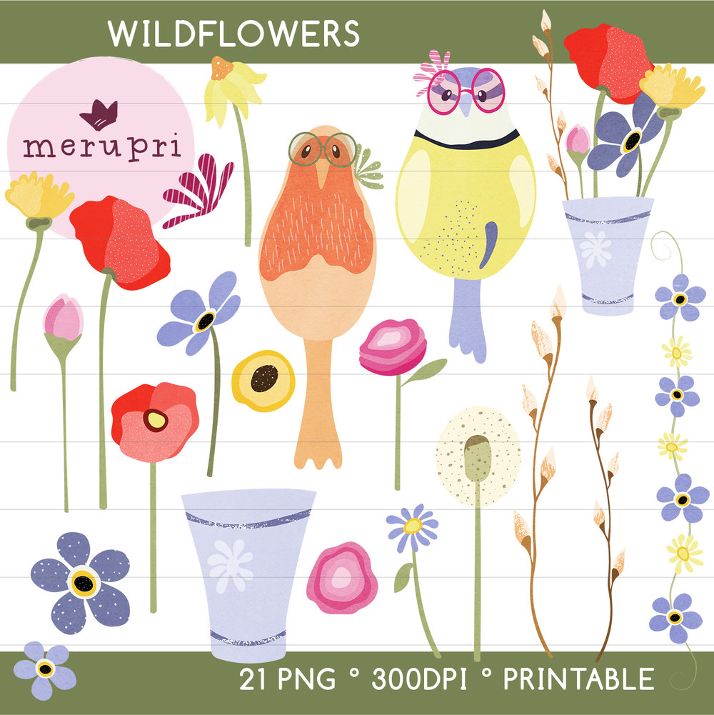"""Clip Art Set """"Wildflowers""""  Also available in a different color version"""