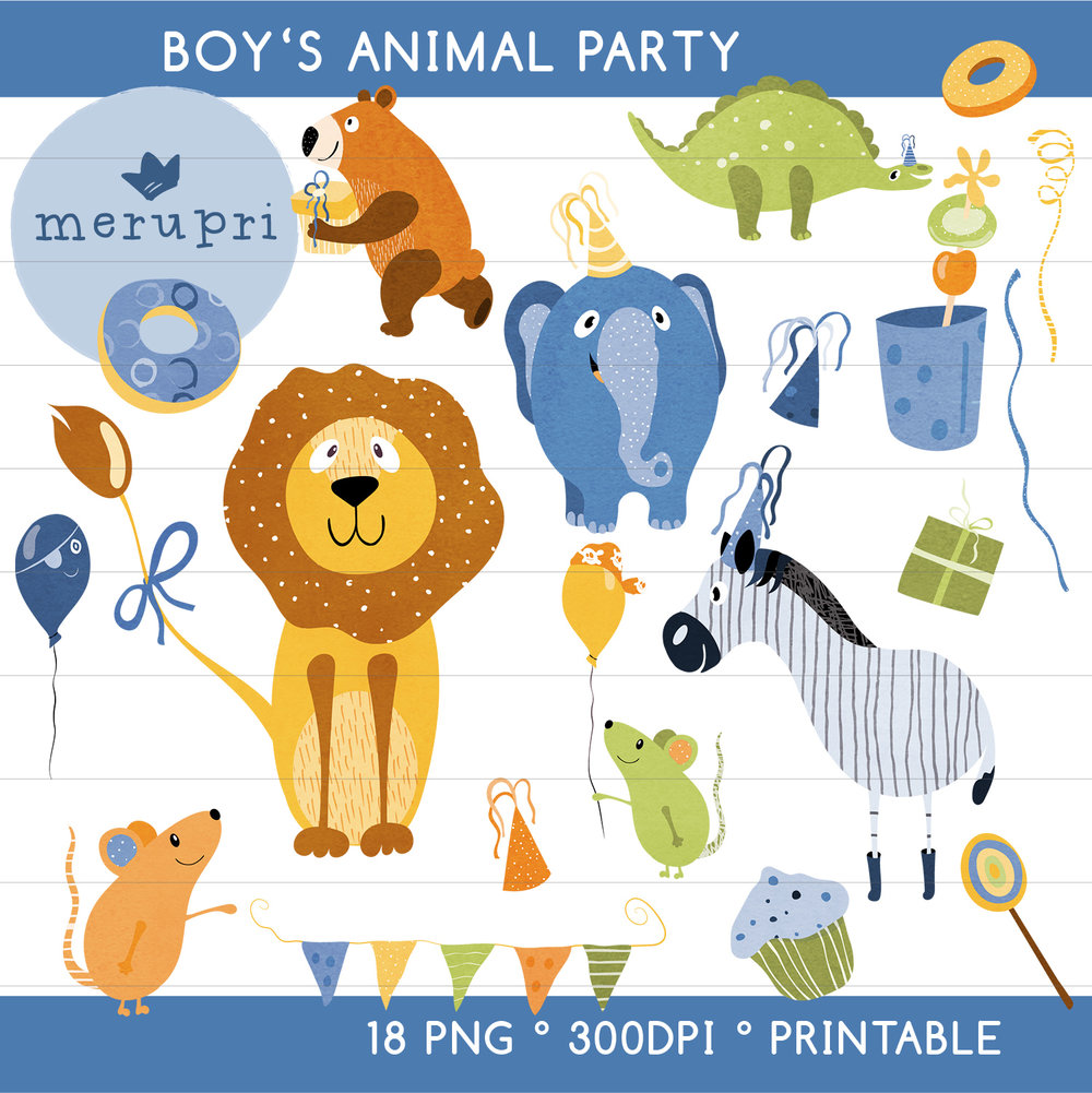 "Clip Art Set ""Boy's Animal Party"""
