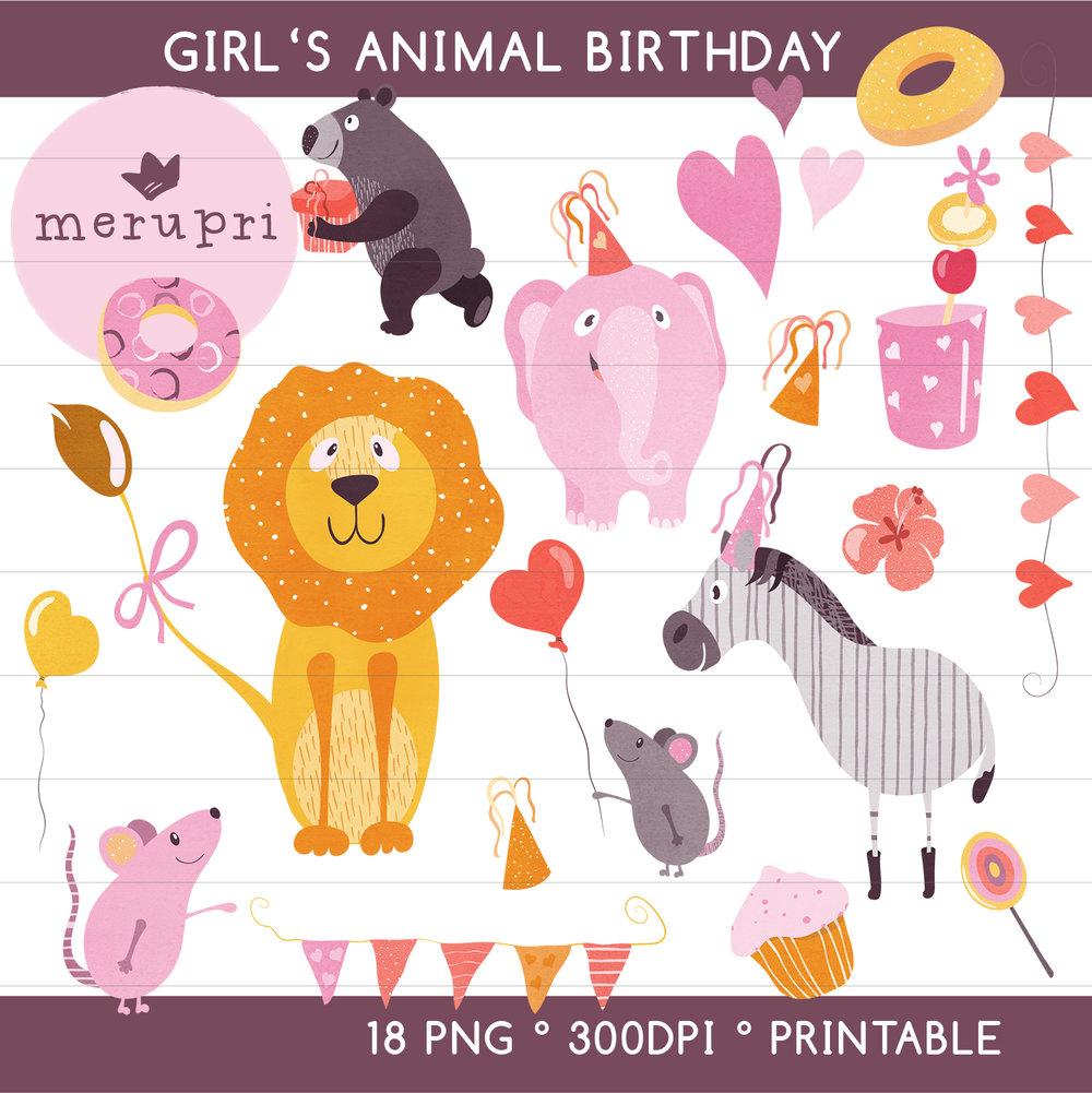 "Clip Art Set ""Girl's Animal Birthday"""