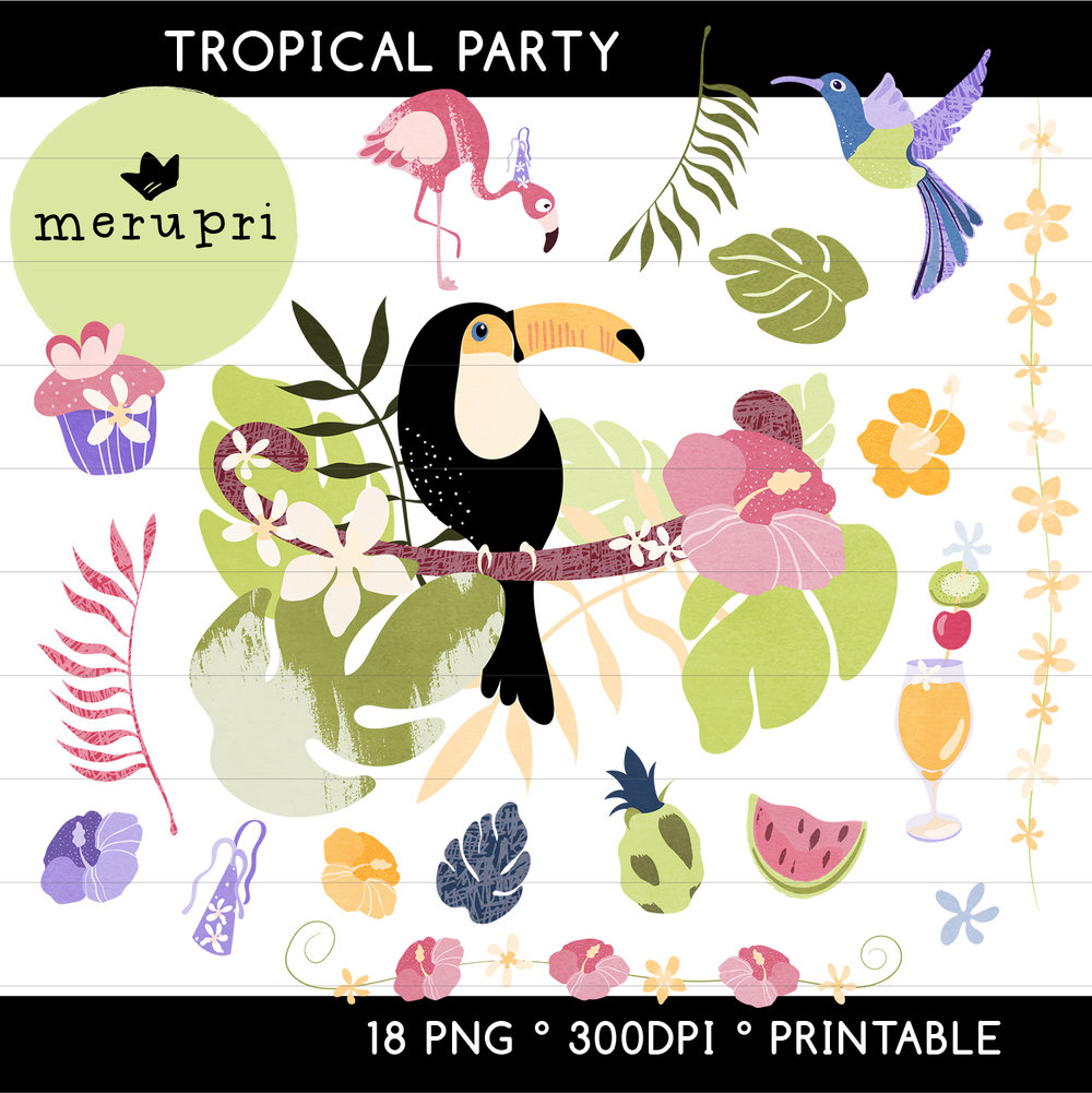 """Clip Art Set """"Tropical""""  Also available in a different color version"""