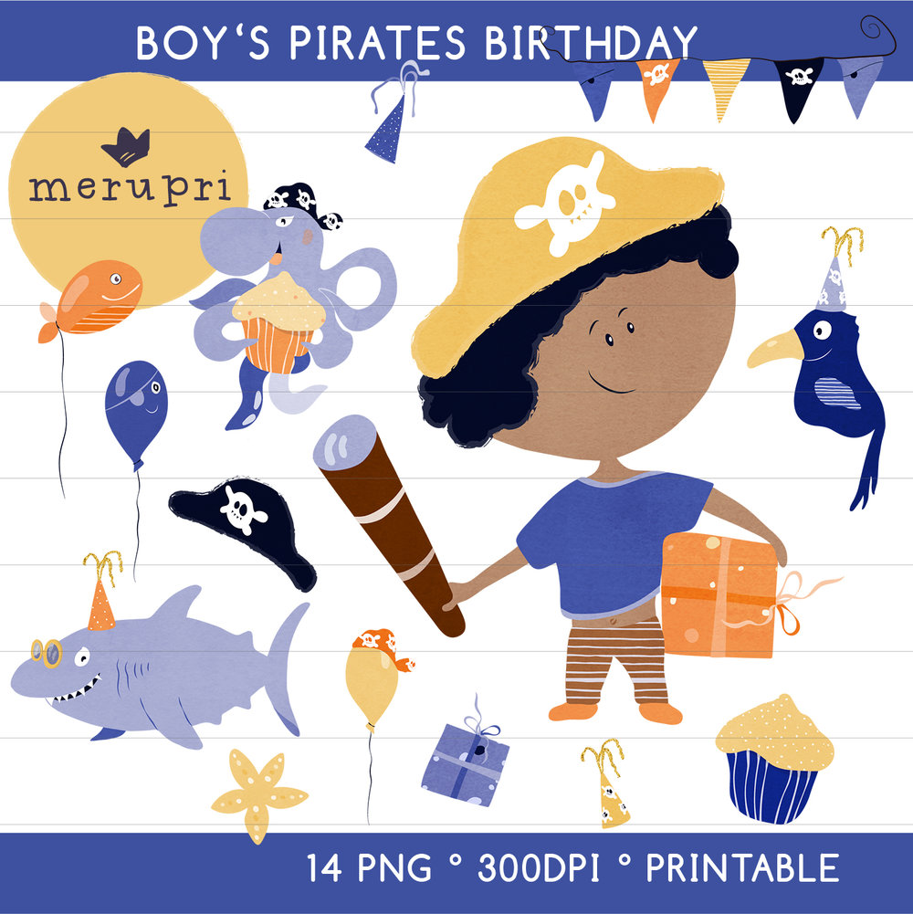 """Clip Art Set """"Boy's Pirates Birthday""""  Also available in different color versions"""