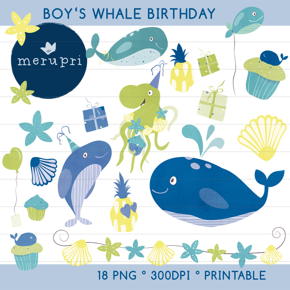 """Clip Art Set """"Boy's Whale Birthday""""  Also available in different color versions"""