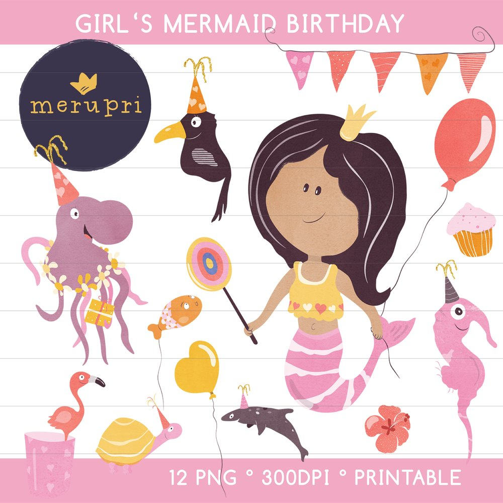 """Clip Art Set """"Girl's Mermaid Birthday""""  Also available in different color versions"""